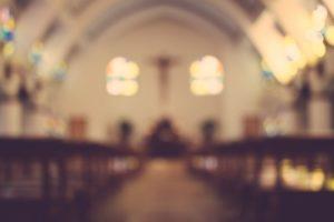 Church interior, blurry